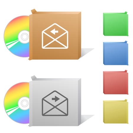 compact disc: mail left arrow. Box with compact disc.