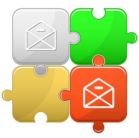 minus: mail minus. Vector puzzle.