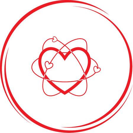 atomic: atomic heart. Internet button. Vector icon. Illustration