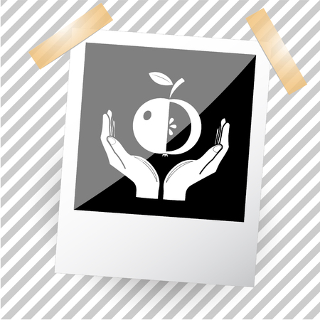 photoframe: apple in hands. Photoframe. Vector icon.