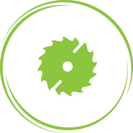 circ saw. Internet button. Vector icon.