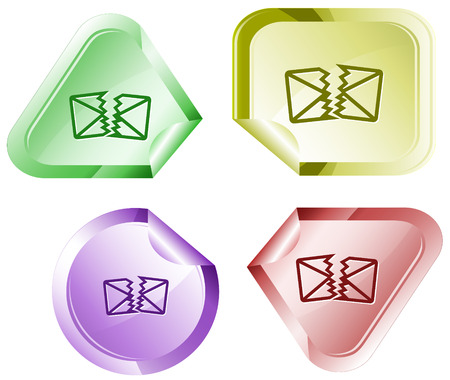 declinate: defective mail. Vector sticker.