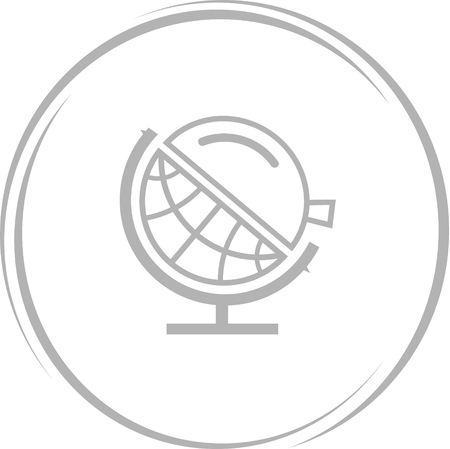 globe  the terrestrial ball: globe and loupe. Internet button. Vector icon. Illustration