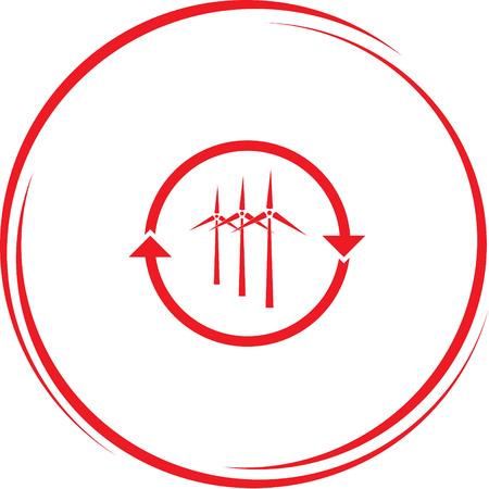 wind: wind turbine. Internet button. Vector icon. Illustration