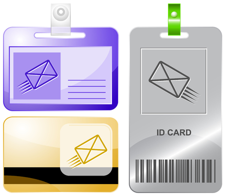 send mail: send mail. Vector id cards.