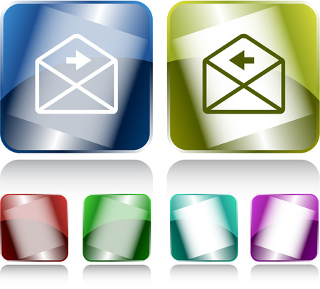 buttons vector: mail right arrow. Internet buttons. Vector illustration.