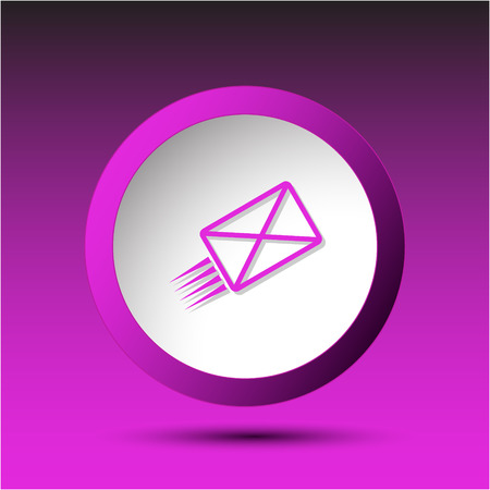incurved: send mail. Plastic button. Vector illustration.