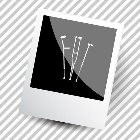 legless: crutches. Photoframe. Vector icon. Illustration