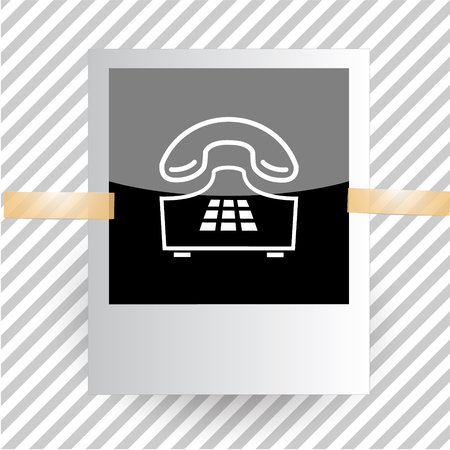 outdated: push-button telephone. Photoframe. Vector icon.