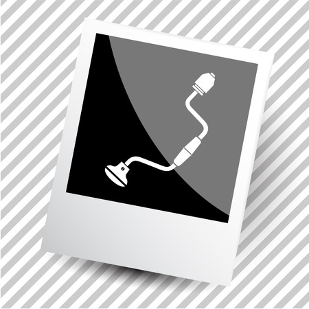 auger: hand drill. Photoframe. Vector icon.