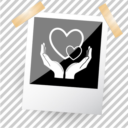 photoframe: love in hands. Photoframe. Vector icon.