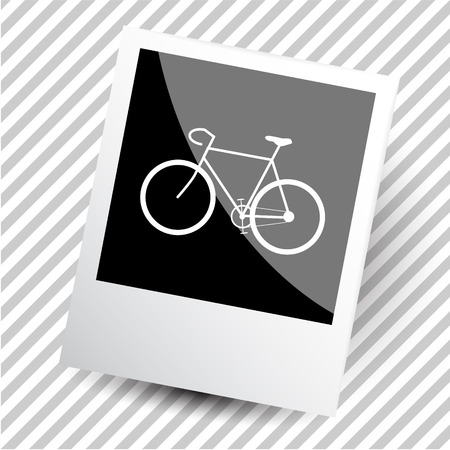 well being: bicycle. Photoframe. Vector icon.
