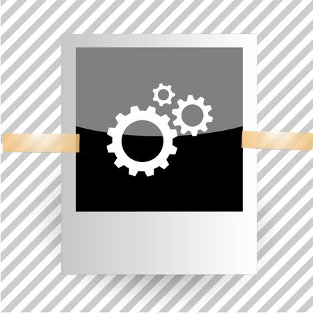 pinion: gears. Photoframe. Vector icon. Illustration