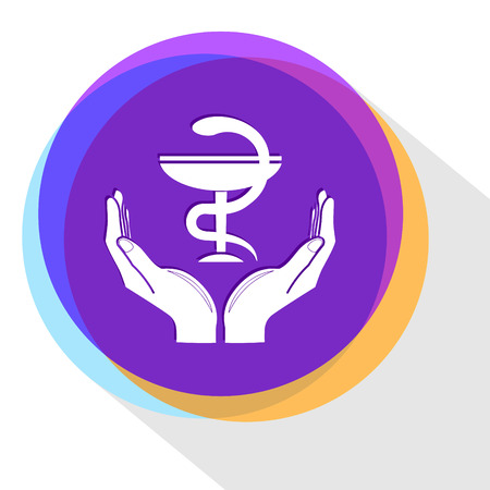 pharma symbol in hands. Internet template. Vector icon.