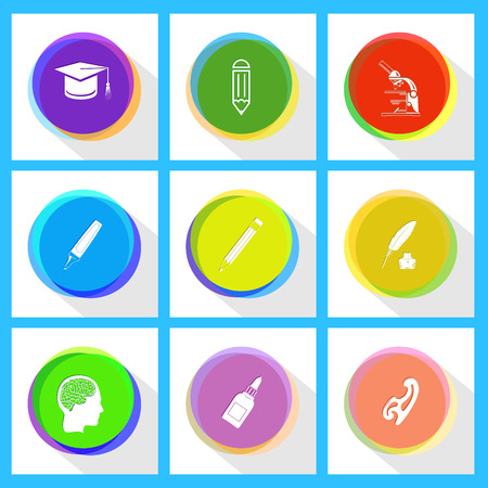background picture: lab microscope, pencil, graduation cap, feather and ink bottle, felt pen, french curve, glue bottle, human brain. Education set. Internet template. Vector icons.