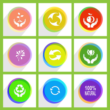 hands plant: apple in hands, bird in hands, 100% natural, recycle symbol, plant in hands, plant, protection nature. Ecology set. Internet template. Vector icons.