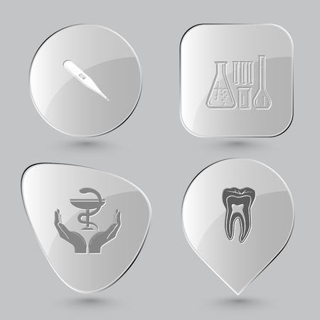 pharma: thermometer, chemical test tubes, pharma symbol in hands, tooth. Medical set. Glass buttons on gray background. Vector icons. Illustration