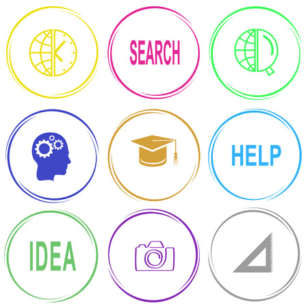 education help: globe and clock, search, globe and magnifying glass, human brain, graduation cap, help, idea, camera, triangle ruler. Education set. Internet button. Vector icons.