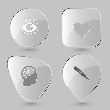glass thermometer: eye, heart, human brain, thermometer. Medical set. Glass buttons on gray background. Vector icons. Illustration