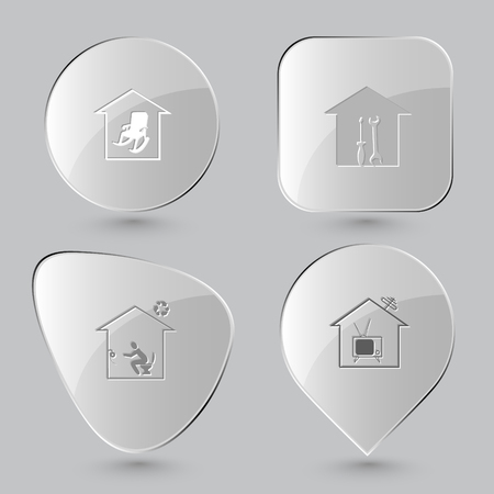bilding: home comfort, workshop, home toilet, home tv. Home set. Glass buttons on gray background. Vector icons. Illustration