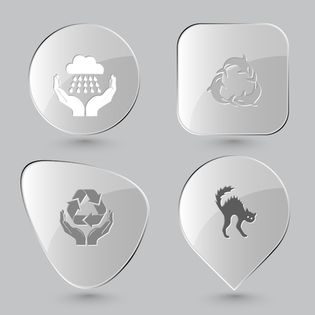gray whale: weather in hands, killer whale as recycling symbol, protection nature, cat. Nature set. Glass buttons on gray background. Vector icons.