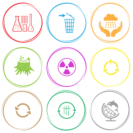 stub: chemical test tubes, recycling bin, weather in hands, stub, radiation symbol, recycle symbol, wind turbine, globe and shamoo. Ecology set. Internet button. Vector icons. Illustration