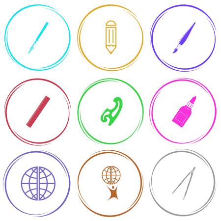 globe terrestre dessin: pouvoir stylo, crayon, brosse, règle, courbe française, colle bouteille, globe, petit homme avec un globe terrestre, étrier. ensemble de l'éducation. bouton Internet. icônes vectorielles.