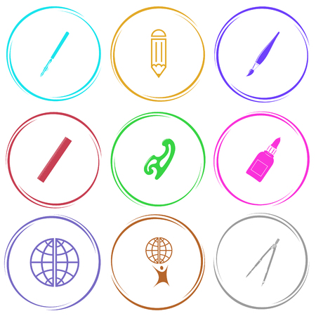 ruling: ruling pen, pencil, brush, ruler, french curve, glue bottle, globe, little man with globe, caliper. Education set. Internet button. Vector icons. Illustration
