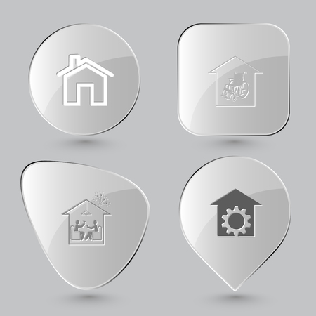 bilding: home, nursing home, home celebration, repair shop. Home set. Glass buttons on gray background. Vector icons. Illustration