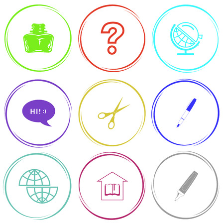 inkstand: inkstand, query sign, globe and loupe, chat symbol, scissors, ink pen, shift globe, library, felt pen. Education set. Internet button. Vector icons. Illustration