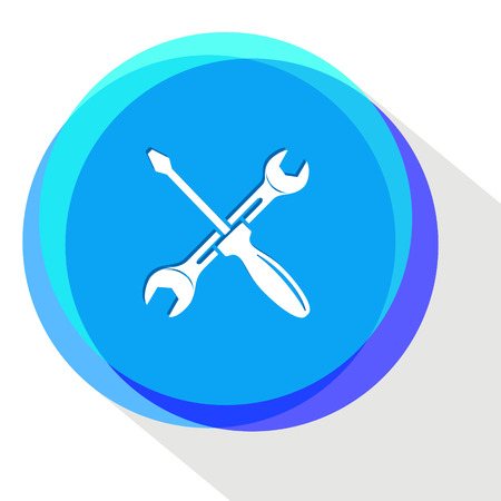 crescent wrench: screwdriver and spanner. Internet template. Vector icon.