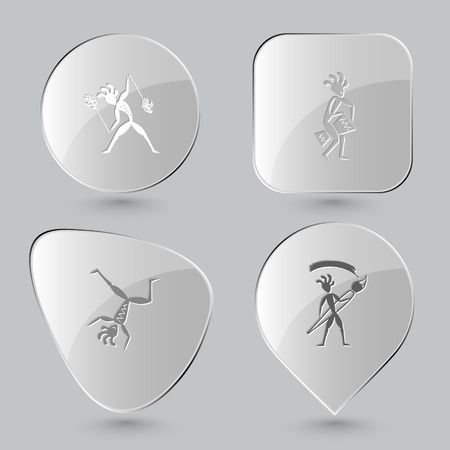 percussionist: ethnic little man with fire poi, ethnic little man with drum, dancing ethnic little man, ethnic little man with brush. Ethnic set. Glass buttons on gray background. Vector icons.