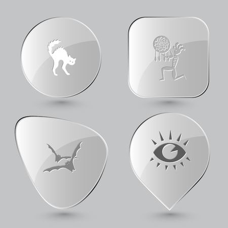 cilia: cat, ethnic little man as shaman, bats, eye. Mystic signs set. Glass buttons on gray background. Vector icons.