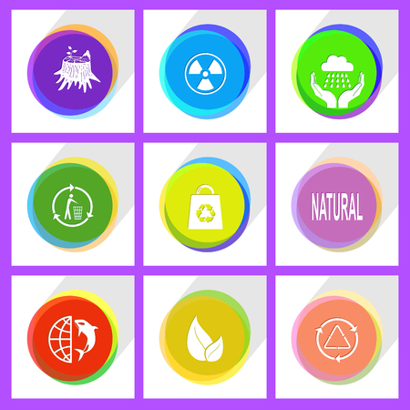 stub: globe and shamoo, recycling bin, stub, leaf, bag, radiation symbol, recycle symbol, natural, weather in hands. Ecology set. Internet template. Vector icons.