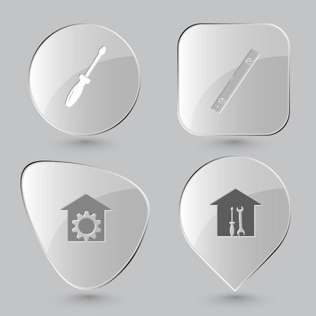 bilding: screwdriver, spirit level, repair shop, workshop. Industrial tools set. Glass buttons on gray background. Vector icons. Illustration