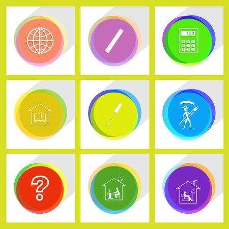 work home: query sign, home work, home reading, library, ink pen, ethnic little man with brush, globe, ruler, calculator. Education set. Internet template. Vector icons.