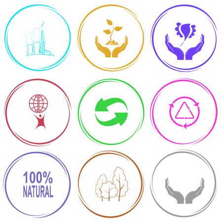 thermal power plant: thermal power engineering, plant in hands, bird in hands, little man with globe, recycle symbol, 100% natural, trees, human hands. Ecology set. Internet button. Vector icons. Illustration