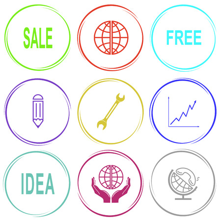 crescent wrench: Business set. Internet button. Vector icons. Illustration