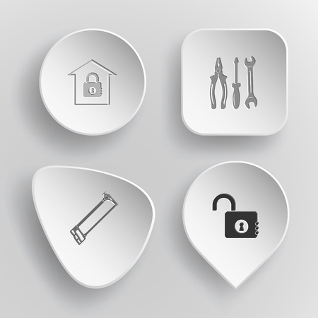 concave: 4 images: bank, tools, hacksaw, opened lock. Industrial tools set. White concave buttons on gray background. Vector icons.