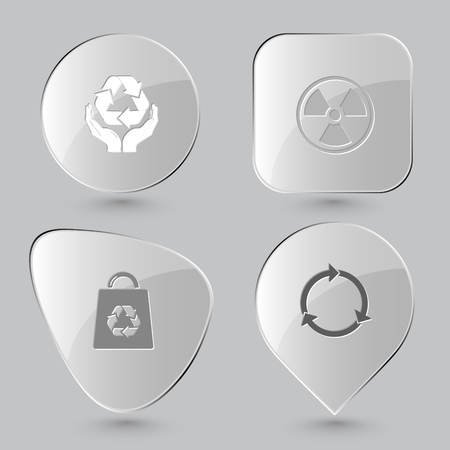 radiation protection: protection nature, radiation symbol, bag, recycle symbol. Ecology set. Glass buttons on gray background. Vector icons.