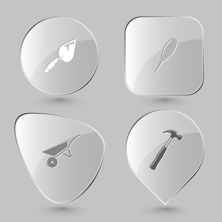 trowel, awl, wheelbarrow, hammer. Angularly set. Glass buttons on gray background. Vector icons.