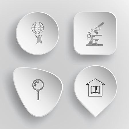 concave: 4 images: little man with globe, lab microscope, magnifying glass, library. Science set. White concave buttons on gray background. Vector icons. Illustration