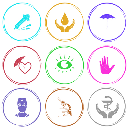 pharma: syringe, protection blood, umbrella, protection love, eye, stop hand, doctor, lab microscope, pharma symbol in hands. Medical set. Internet button. Vector icons. Illustration