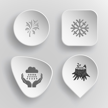 concave: 4 images: abstract plant, snowflake, weather in hands, stub. Nature set. White concave buttons on gray background. Vector icons. Illustration