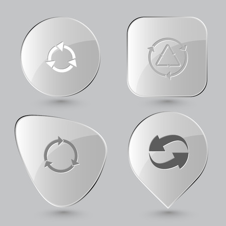 reflection of life: recycle symbol. Recycle symbols set. Glass buttons on gray background. Vector icons. Illustration
