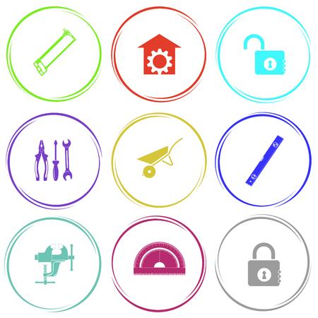 bilding: hacksaw, repair shop, opened lock, tools, wheelbarrow, spirit level, clamp, protractor, closed lock. Industrial tools set. Internet button. Vector icons. Illustration