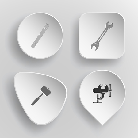 concave: 4 images: spirit level, spanner, mallet, clamp. Industrial tools set. White concave buttons on gray background. Vector icons. Illustration