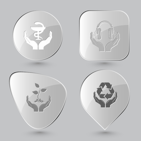pharma: pharma symbol in hands, headphones in hands, plant in hands, protection nature. In hands set. Glass buttons on gray background. Vector icons.