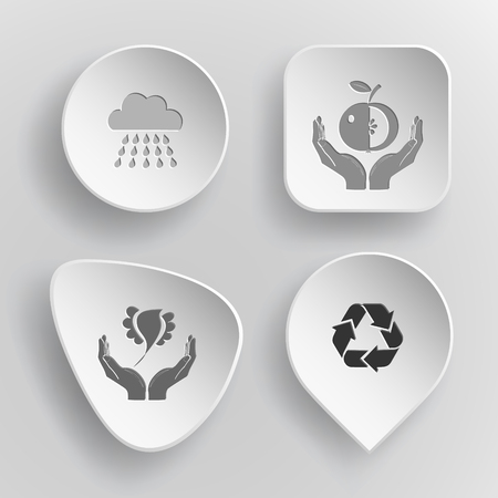 concave: 4 images: rain, apple in hands, bird in hands, recycle symbol. Nature set. White concave buttons on gray background. Vector icons.