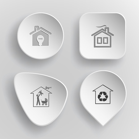 4 images: light in home, family home, protection of nature. Home set. White concave buttons on gray background. Vector icons.